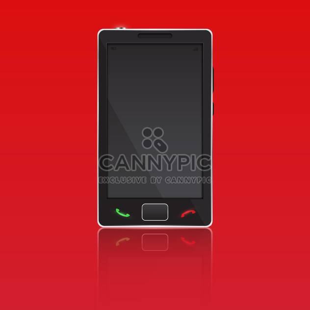 Vector illustration of mobile smart phone on red background - Free vector #128577