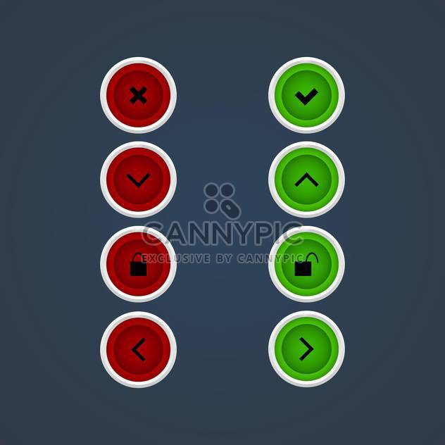 Vector web green and red icon set - Free vector #128687