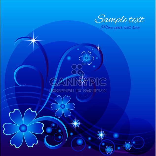 Vector blue floral background with sample text - Free vector #128787
