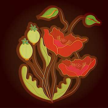 Vector illustration with red poppies on black background - vector gratuit(e) #128797