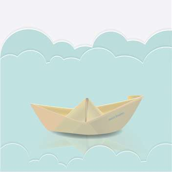 Vector illustration paper boat in blue waves of paper sea - Free vector #128827