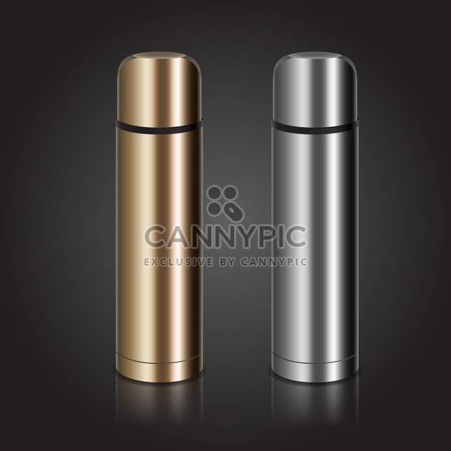 Vector illustration of two metal thermoses on grey background - Free vector #128907