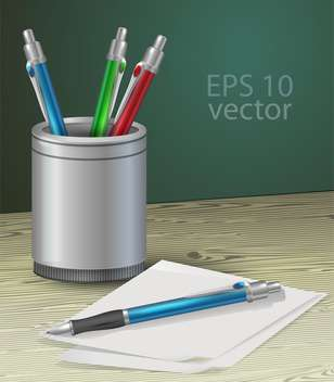 Colorful pens or pencils set on a wooden table vector illustration - vector gratuit #128917