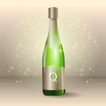 bottle of vector champagne illustration - vector gratuit #129087