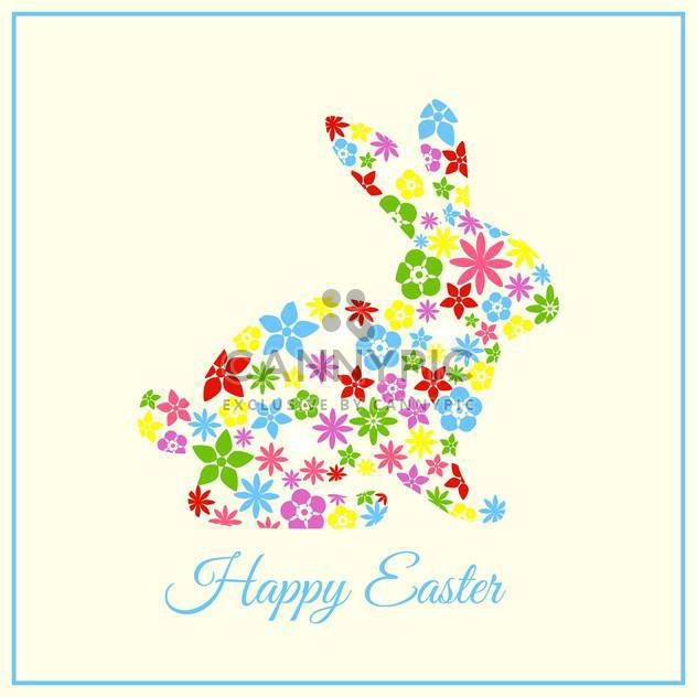 Vector Happy Easter greeting card with floral bunny - Free vector #129347