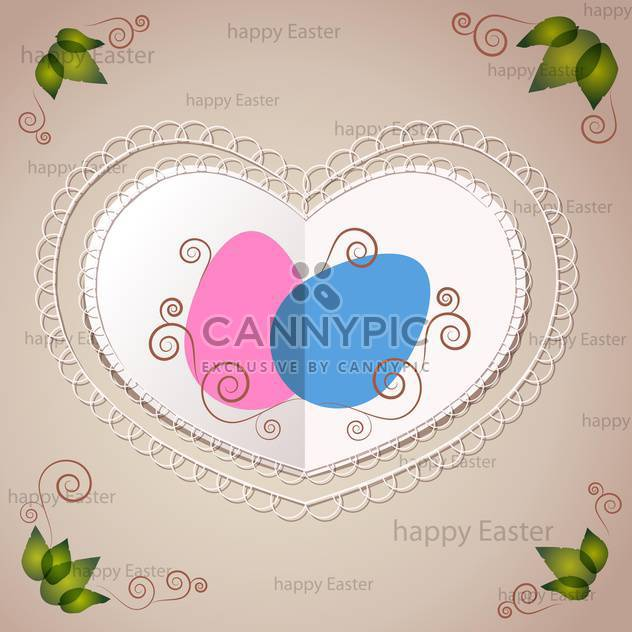 Vector Easter greeting card with heart and eggs - Free vector #129387