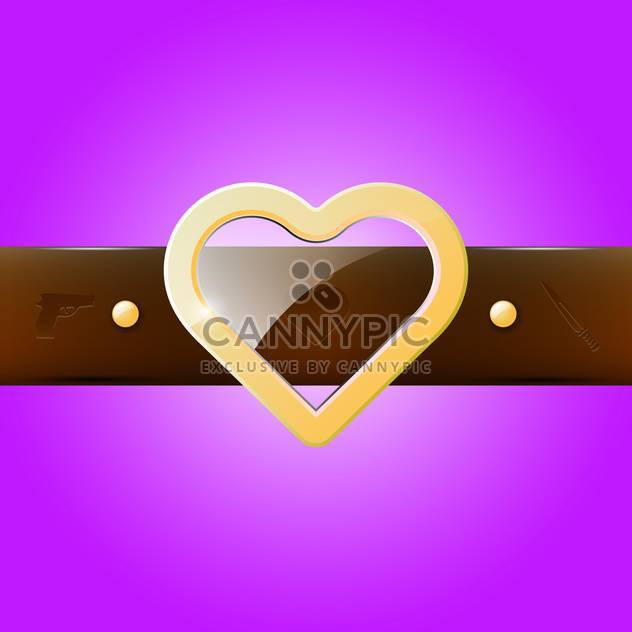 Vector illustration of glass heart belt buckle on purple background - Free vector #129407