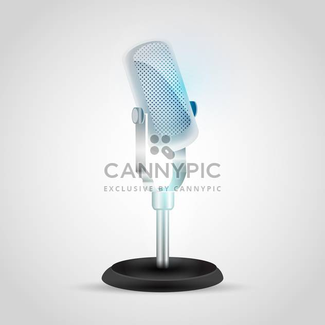 Vector illustration of retro microphone on gray background - Free vector #129487