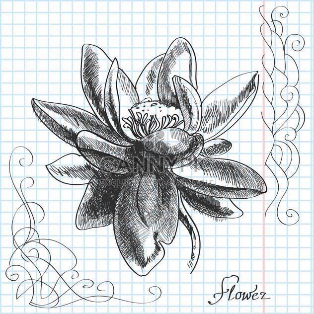 Vektor-handgezeichnete Abbildung der Blume auf kariertes Papierhintergrund - Kostenloses vector #129497