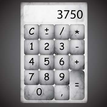 Vector marble gray calculator with numbers - vector gratuit #129547