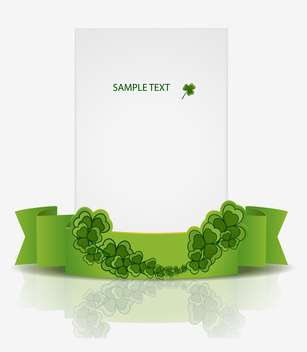Vector St Patrick Day greeting card with green ribbon and clover leaves - Free vector #129577