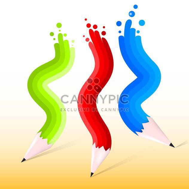 Vector illustration of green, red and blue pencils - Free vector #129617