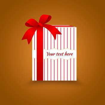 Vector illustration of gift box with red bow on brown background - Free vector #129647