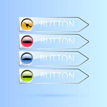 Vector set of glass transport buttons on blue background - Free vector #129687