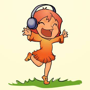 Vector illustration of happy orange dancing girl listens music in headphones on grass on yellow background - Free vector #129707