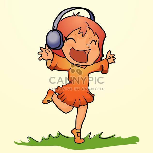 Vektor-Illustration von glücklich orange tanzenden Mädchen hört Musik im Kopfhörer auf Gras auf gelbem Grund - Kostenloses vector #129707