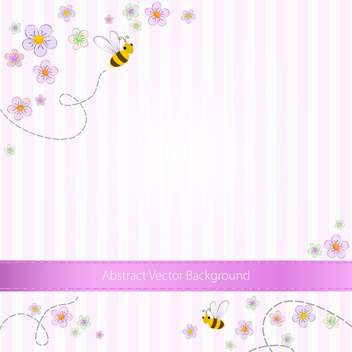 Vector pink striped background with bees and flowers - Free vector #129737