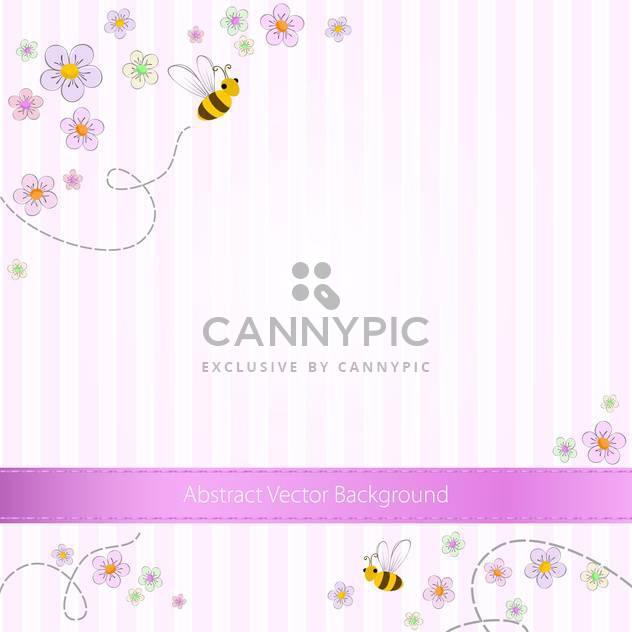 Vektor-Rosa gestreiften Hintergrund mit Bienen und Blumen - Kostenloses vector #129737