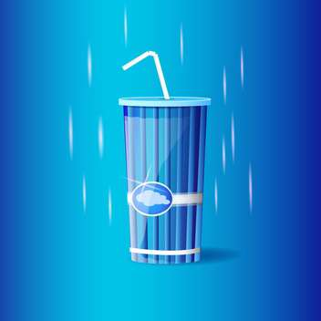 Vector illustration of blue plastic container with straw on blue background - бесплатный vector #129777