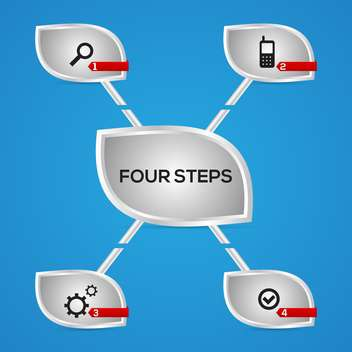 Vector buttons of four steps with icons - vector gratuit #129927