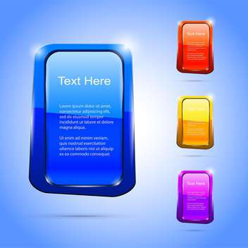 Vector set of colorful banners on blue background - Free vector #129937
