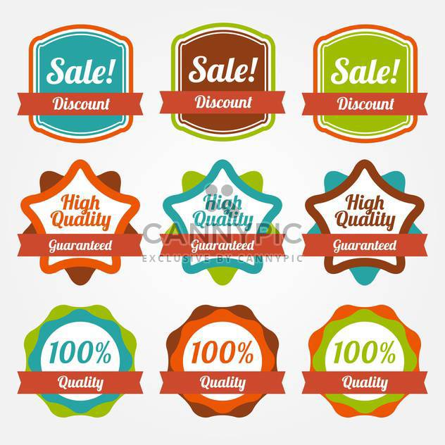 Collection of colorful vintage labels for sale - Free vector #130037