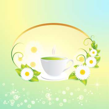 Vector background with tea cup and flowers - vector gratuit(e) #130067