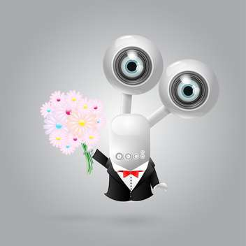 vector web camera robot with flowers - vector gratuit #130307
