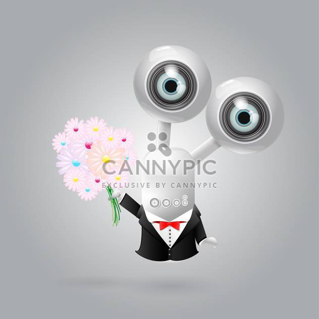 vector web camera robot with flowers - Free vector #130307
