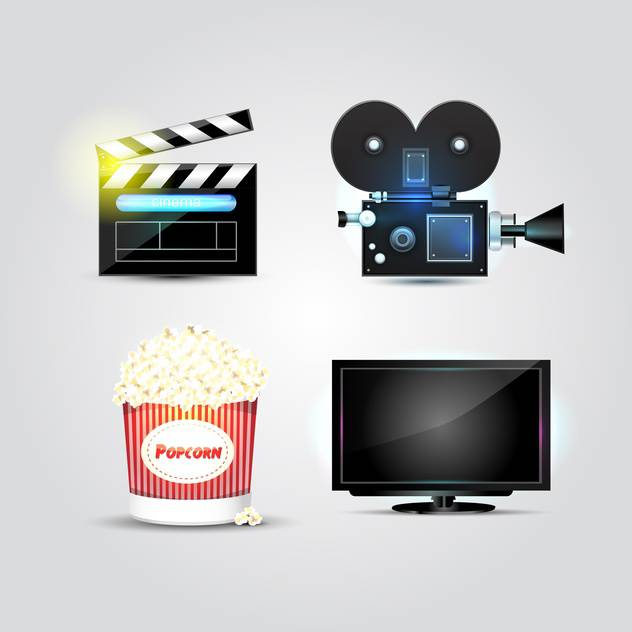 Set with cinema and movie vector icons, isolated on white background - бесплатный vector #130457