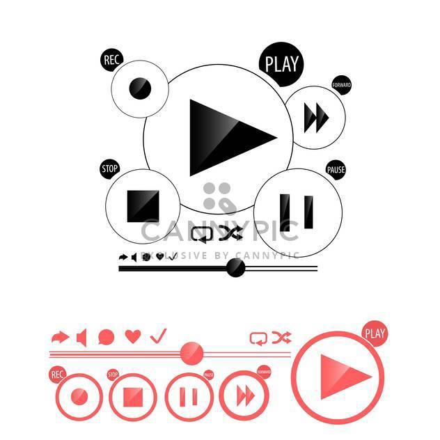 Runde Spieler Knöpfe und rot audio MediaPlayer isoliert auf weißem Hintergrund - Free vector #130607