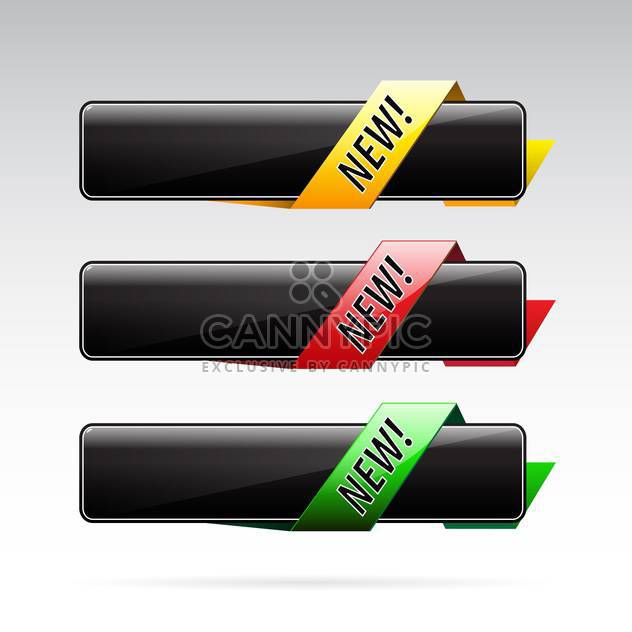 black banners with colorful ribbons on grey background - Free vector #130637