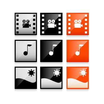 Vector square multimedia icons on white background - vector gratuit #130647