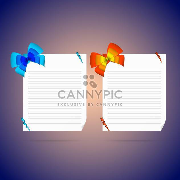 card notes with gift bows with ribbons - Free vector #130827