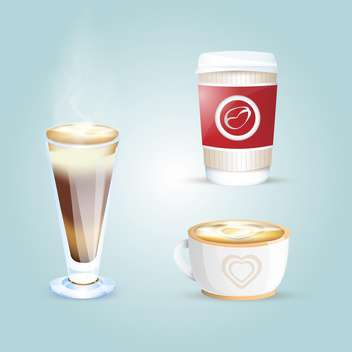 Vector set of different coffee cups on blue background - vector #131097 gratis