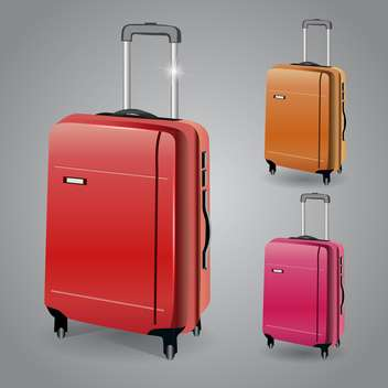 Vector luggage set illustration on grey background - Free vector #131117