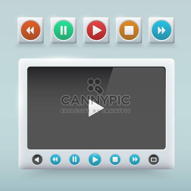 Multimedia buttons interface vector for web design - Free vector #131317