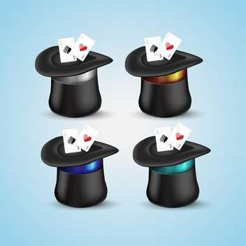 Magic hat with playing cards icons - vector gratuit #131327