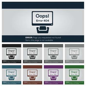 set of vector 404 error icons for web - бесплатный vector #131357