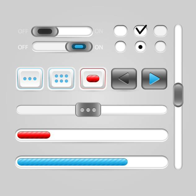Vector set of media buttons for web design - Free vector #131367