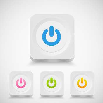 Vector power buttons set on white background - vector #131407 gratis