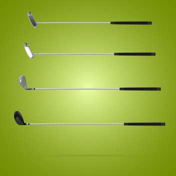 Four different type of golf clubs on green background - Kostenloses vector #131467