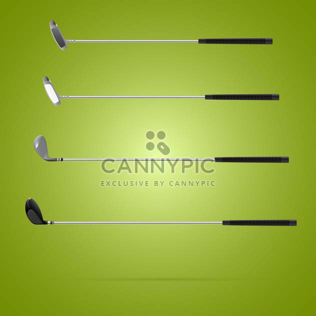 Four different type of golf clubs on green background - Free vector #131467