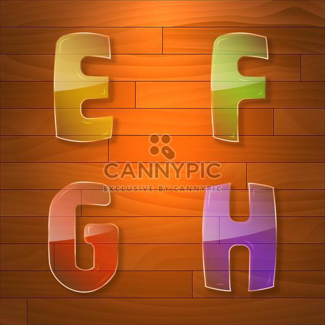 Colorful glass vector font on wooden background - Free vector #131657