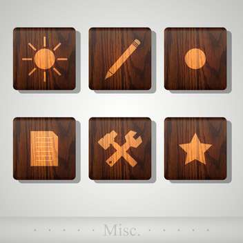 Vector set of web wooden icons - Free vector #131777