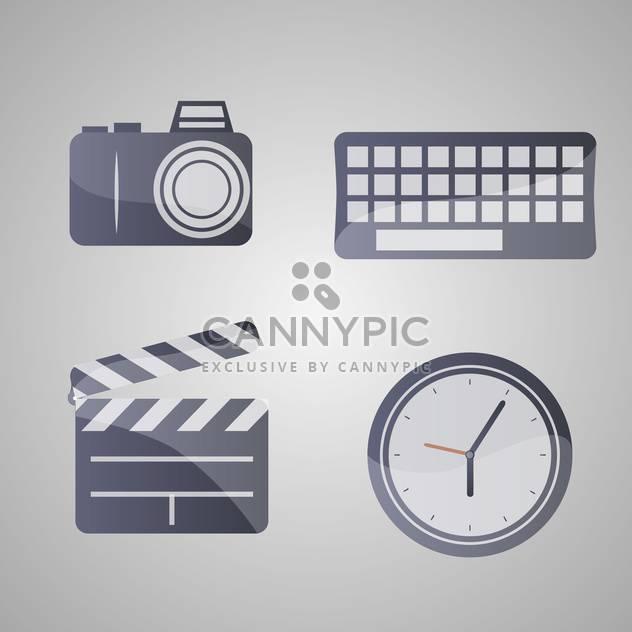 Verschiedenen Vektor-Icons, auf grauem Hintergrund festlegen - Kostenloses vector #131797