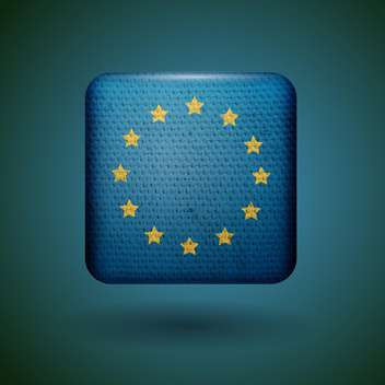 European union flag with fabric texture vector icon - vector gratuit #131807