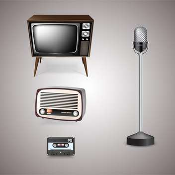 Retro-styled techno objects on grey background - vector gratuit #131937