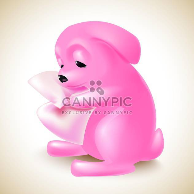 Vector illustration of cute pink rabbit on light background - Free vector #131967