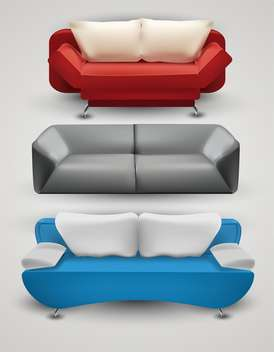 Vector set of colorful sofas on grey background - vector gratuit #132027